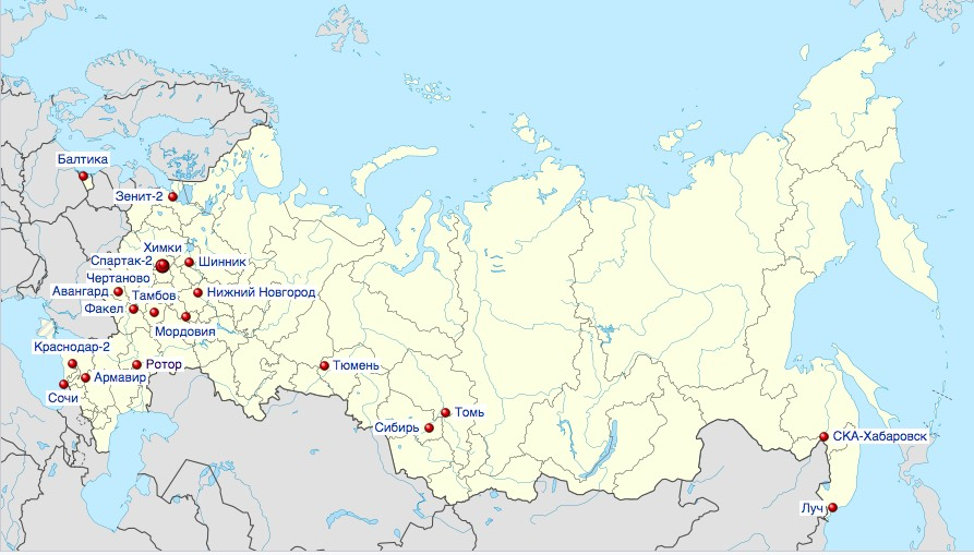 Russian Second Division Map 2018/19