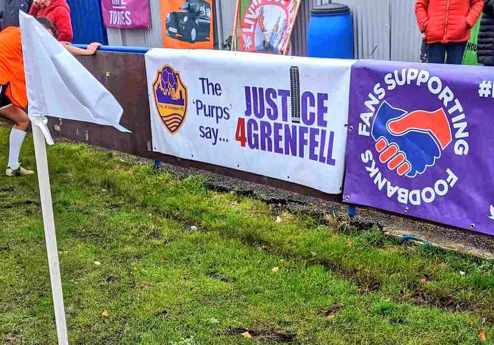 City of Liverpool FC justice for Grenfell Fans Supporting Foodbanks