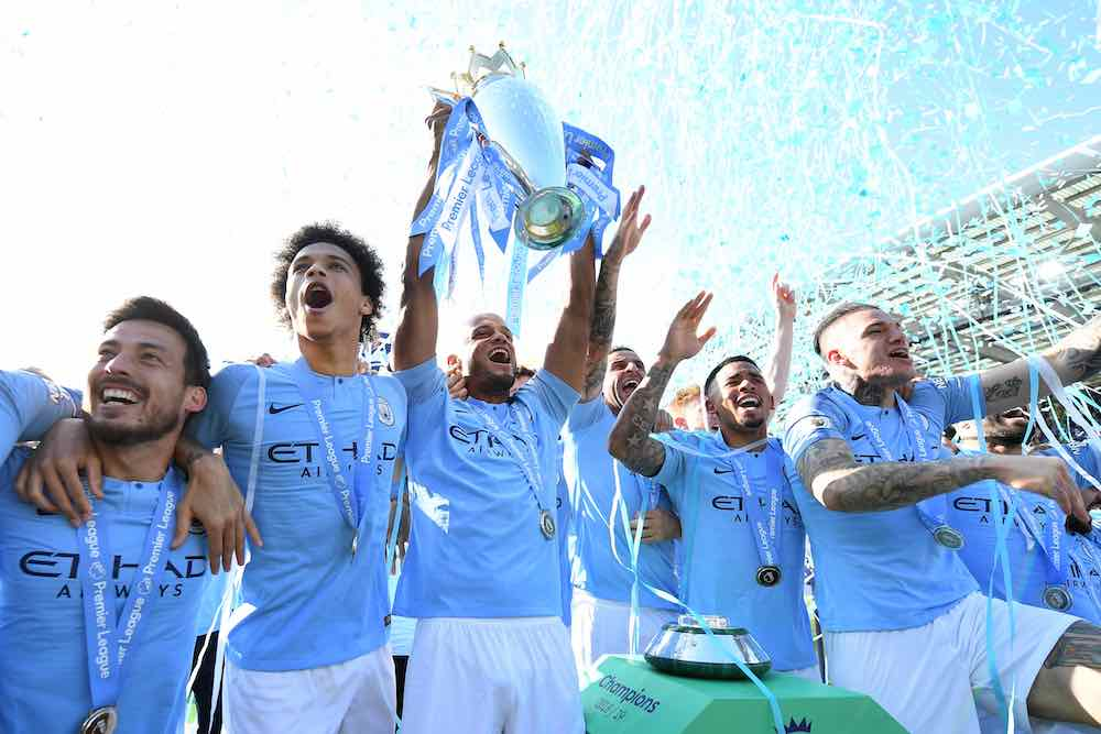 Manchester City Premier League title trophy man city