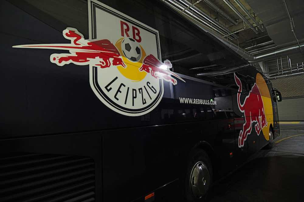 RB Leipzig red bull bus