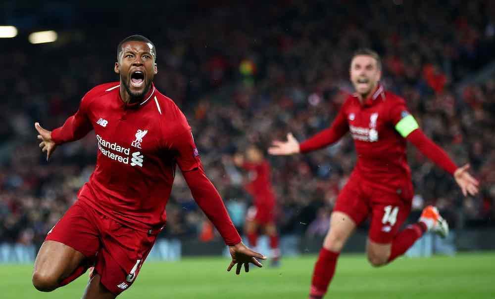 Wijnaldum Liverpool CL goal celebration