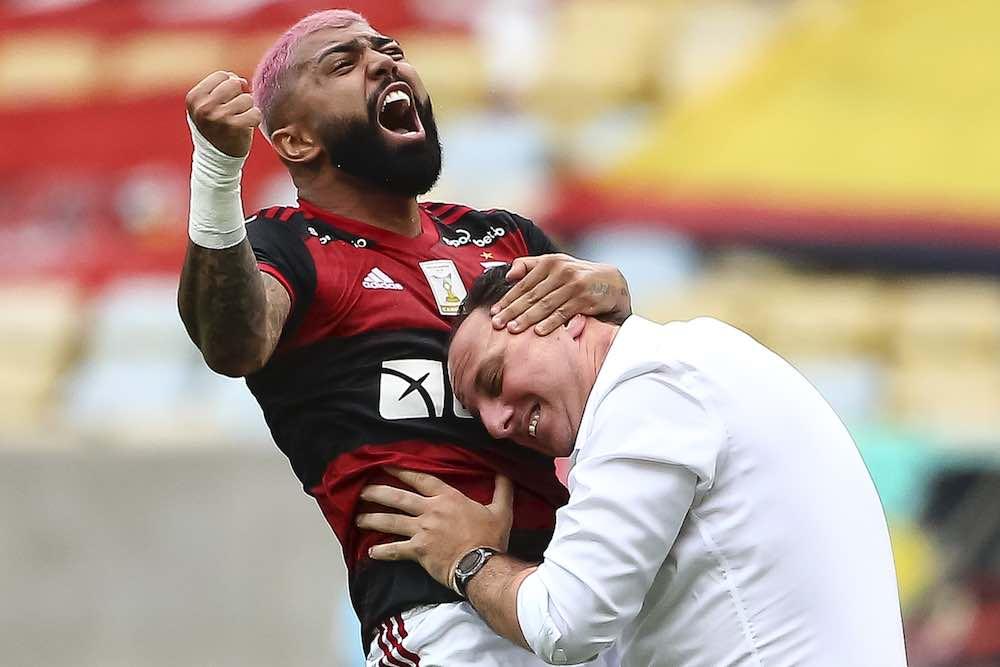 Gabriel Barbosa And Rogerio Ceni celebrate